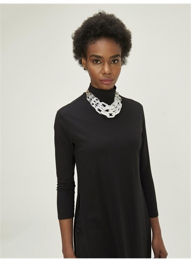 Xint XINT Dik Yaka Çift Etekli Pamuklu Rahat Kesim Elbise Siyah